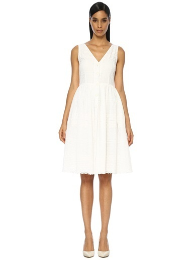 Beymen Club V Yaka Önü Düğmeli Midi Elbise Beyaz